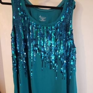 Teal sequined tank